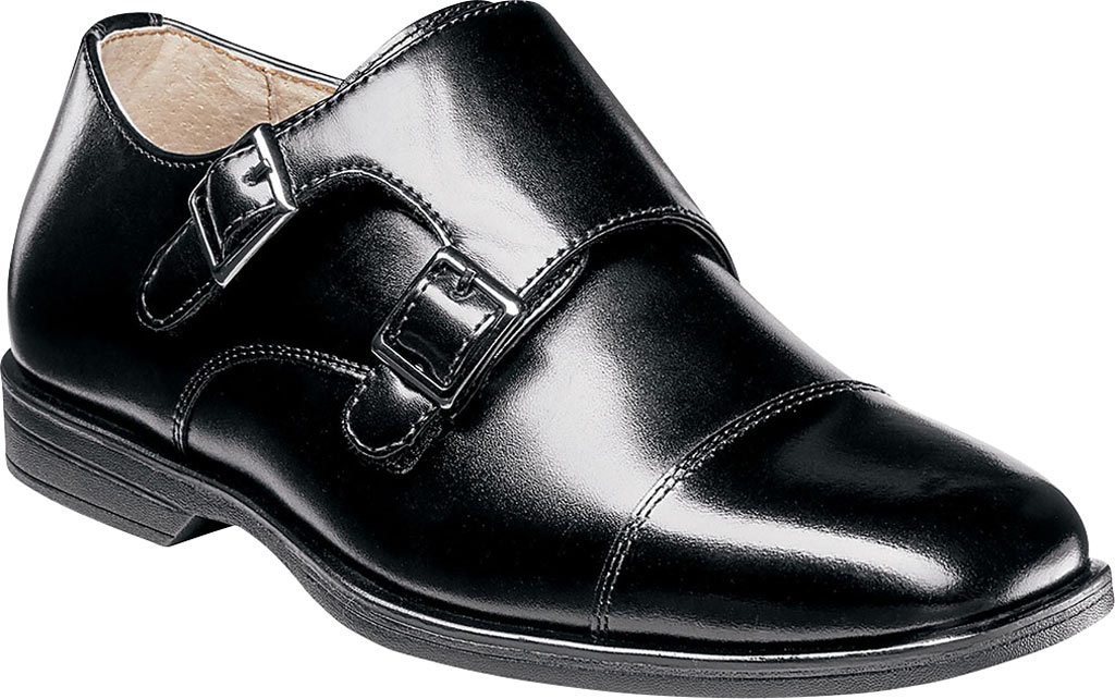 Boys' Florsheim Reveal Double Monk Oxford, Jr., Black Leather, large, image 1