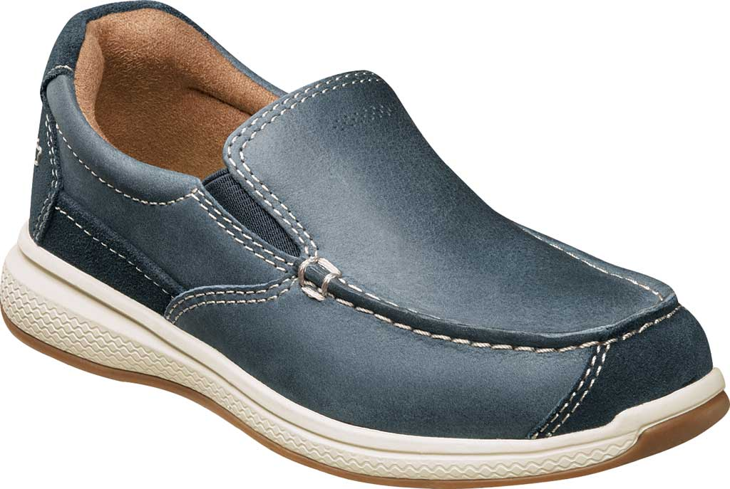 Boys' Florsheim Great Lakes Moc Toe Slip On Jr, Indigo Genuine Leather, large, image 1