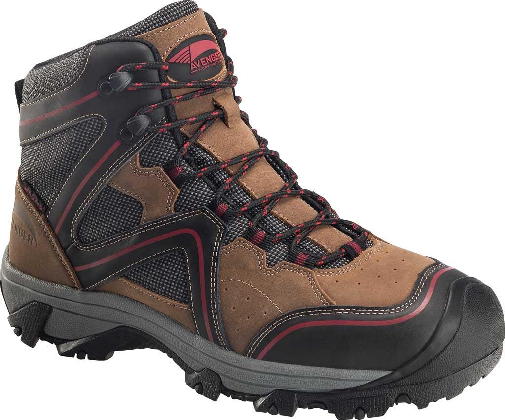 Men's Avenger A7711 Crosscut Steel Toe Waterproof PR Work Boot, Brown Full Grain Leather/Mesh, large, image 1