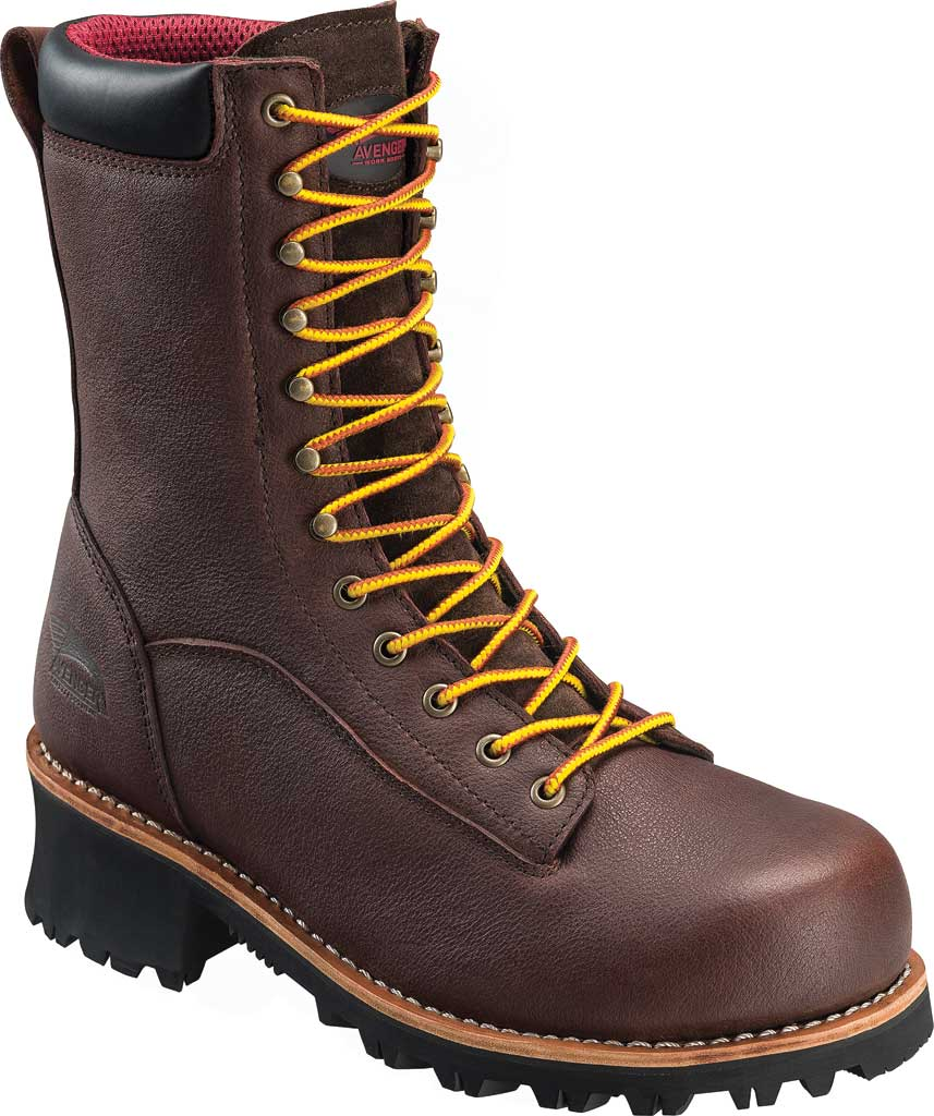 Men's Avenger A7356 Composite Toe Waterproof PR Logger Boot, Brown Full Grain Leather, large, image 1