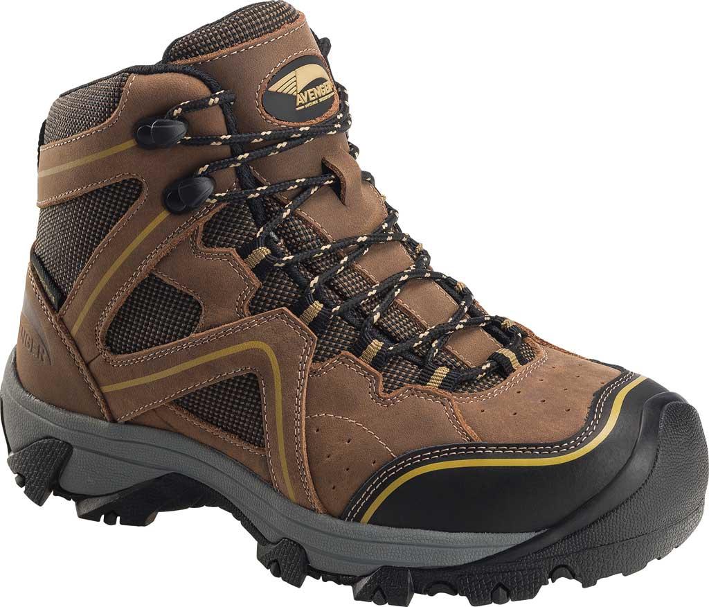 Women's Avenger A7751 Crosscut Steel Toe Waterproof PR Work Boot, Brown Full Grain Leather/Mesh, large, image 1