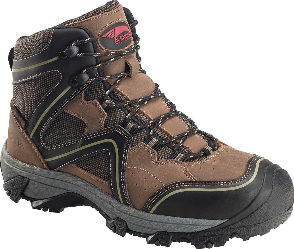Men's Avenger A7612 Crosscut Soft Toe Waterproof PR Work Boot, Brown Full Grain Leather/Mesh, large, image 1
