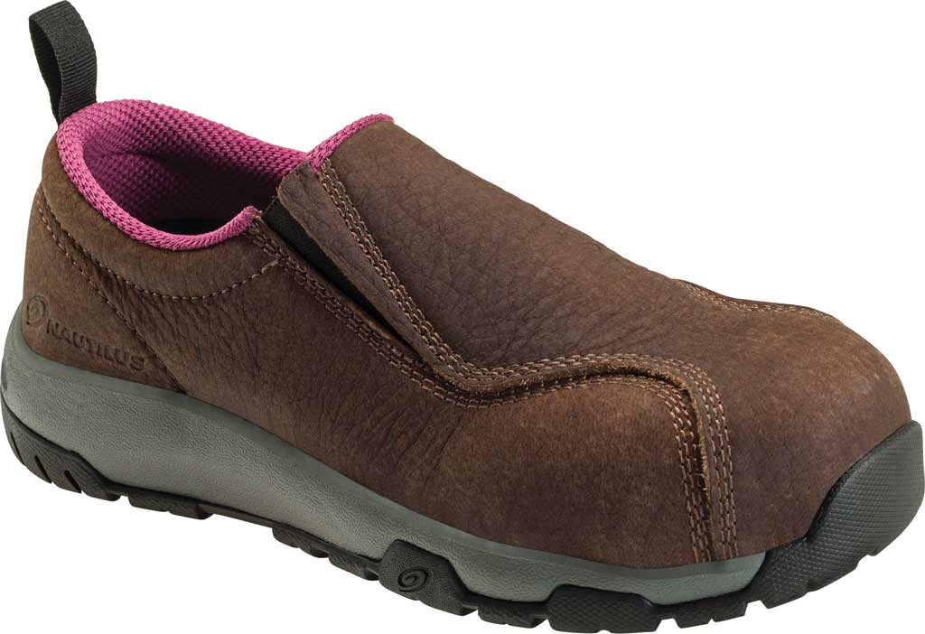 Women's Nautilus 1647 ESD Slip On Carbon Toe Work Shoe, Brown Leather, large, image 1