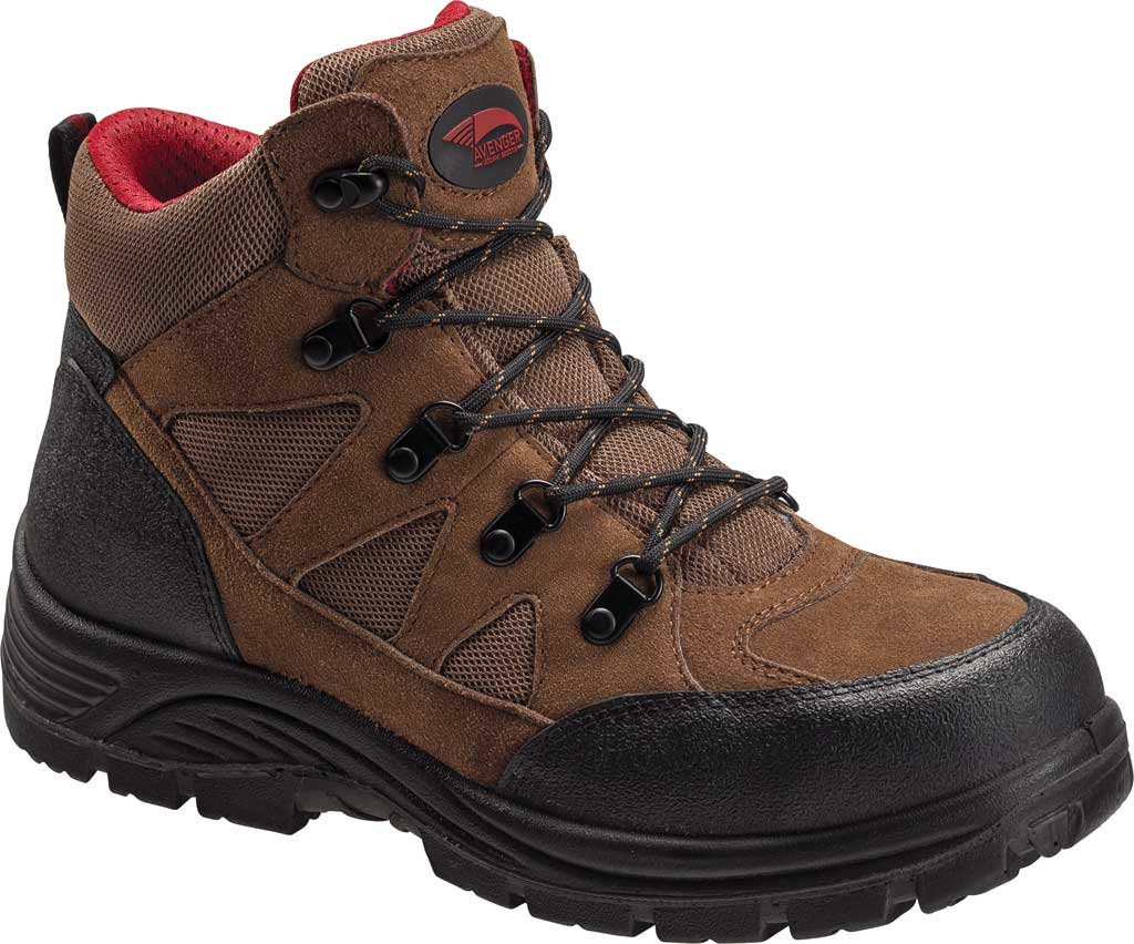 Men's Avenger A7242 Grid Steel Toe Safety Boot, Brown Leather/Mesh, large, image 1