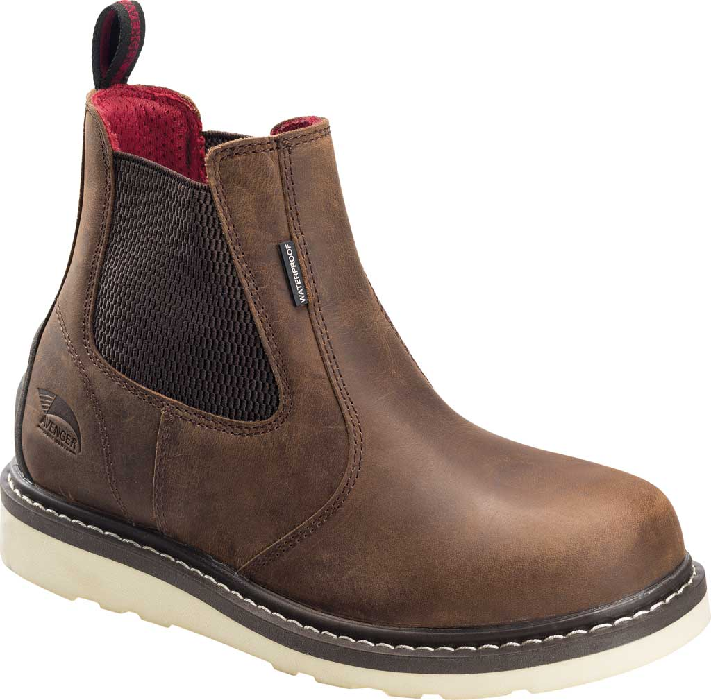 Men's Avenger A7510 Soft Toe Waterproof Wedge Chelsea Boot, Brown Leather, large, image 1