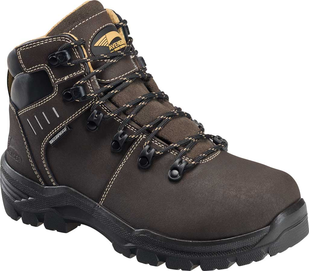 Women's Avenger A7452 Foundation Carbon Toe Internal Met WP Boot, Brown Full Grain Leather, large, image 1