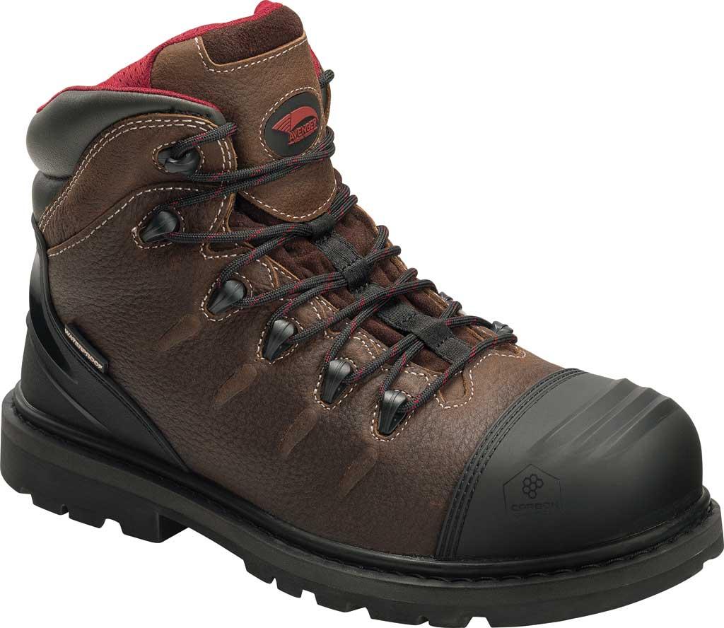 Men's Avenger A7591 Hammer Internal Met Carbon Toe WP Work Boot, Brown Full Grain Leather, large, image 1