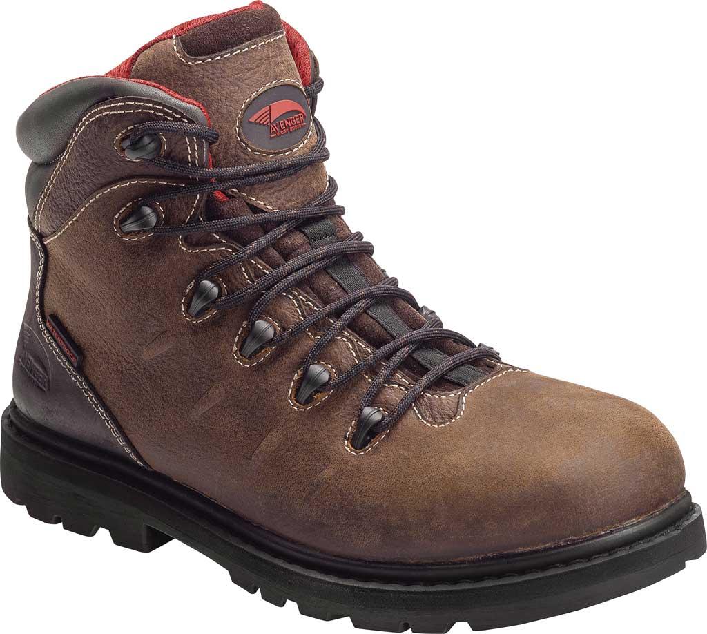 Men's Avenger A7645 Hammer Soft Toe Waterproof Work Boot, Brown Full Grain Crazy Horse Leather, large, image 1