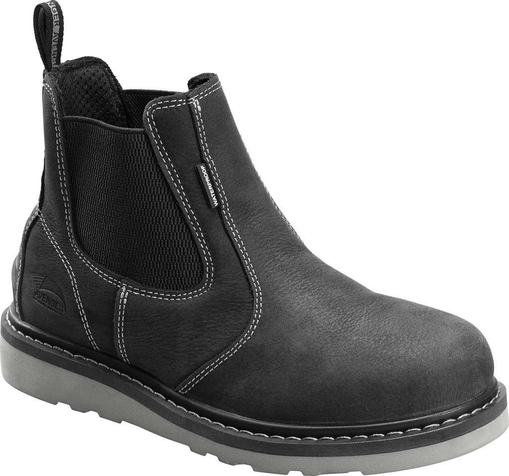 Men's Avenger A7605 Wedge Pull-On Soft Toe Waterproof Work Boot, Black Full Grain Leather, large, image 1