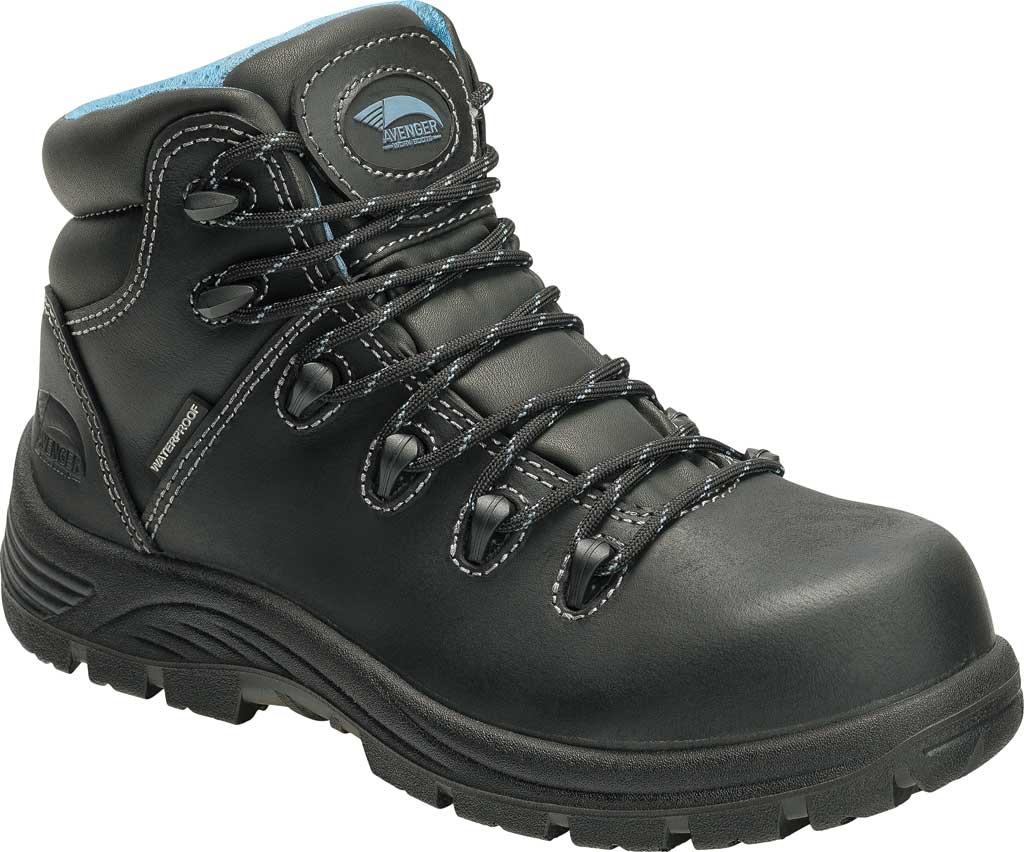 Women's Avenger A7127 Framer Composite Toe Waterproof Work Boot, Black Full Grain Leather, large, image 1