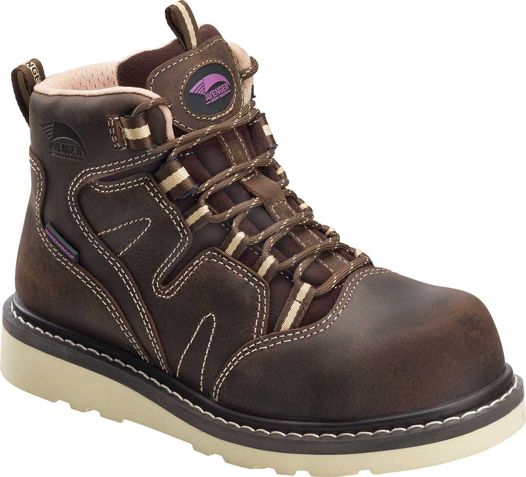 Women's Avenger A7550 Wedge Carbon Toe Waterproof Work Boot, Brown Full Grain Leather, large, image 1