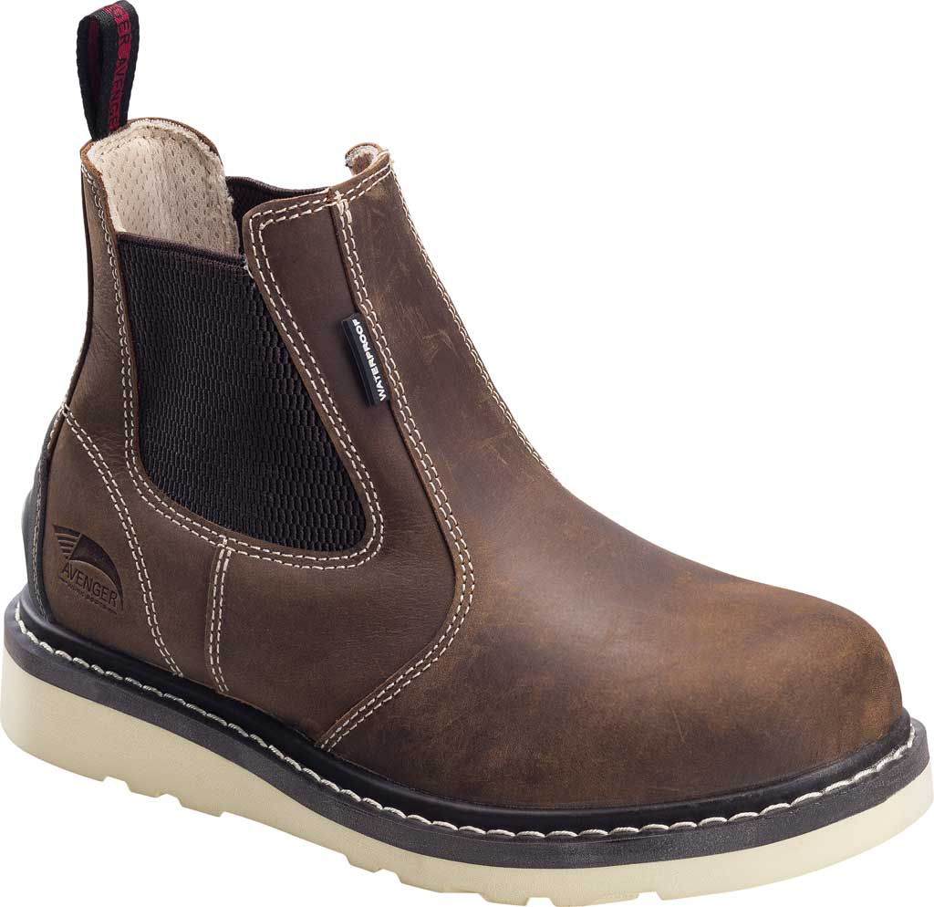 Women's Avenger A7651 Wedge Pull-On Soft Toe Waterproof Work Boot, Brown Full Grain Leather, large, image 1