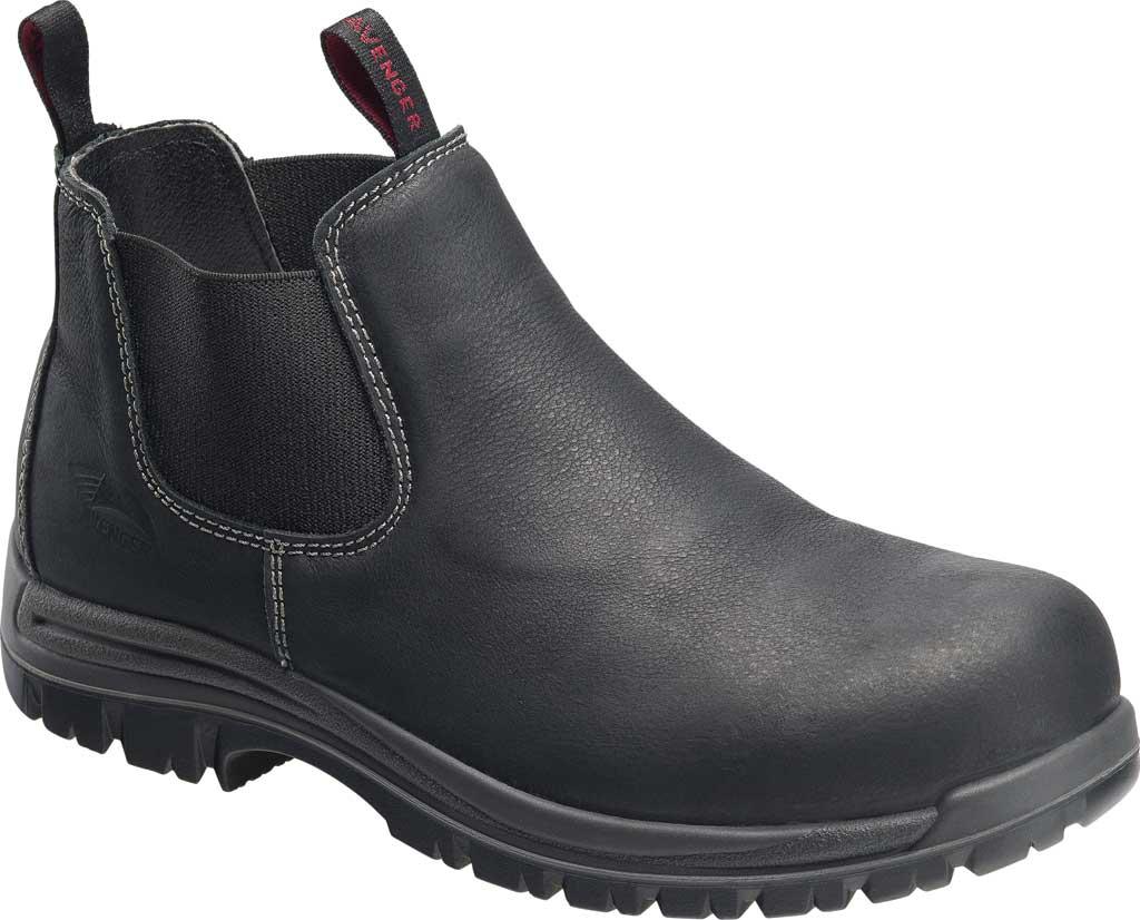 Men's Avenger A7111 Foreman Romeo Pull On Work Boot, Black Full Grain Leather, large, image 1