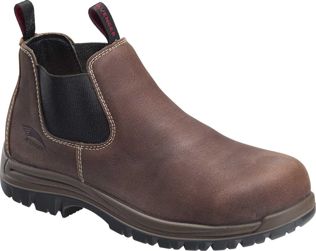 Men's Avenger A7110 Foreman Romeo Pull On Work Boot, Brown Full Grain Leather, large, image 1