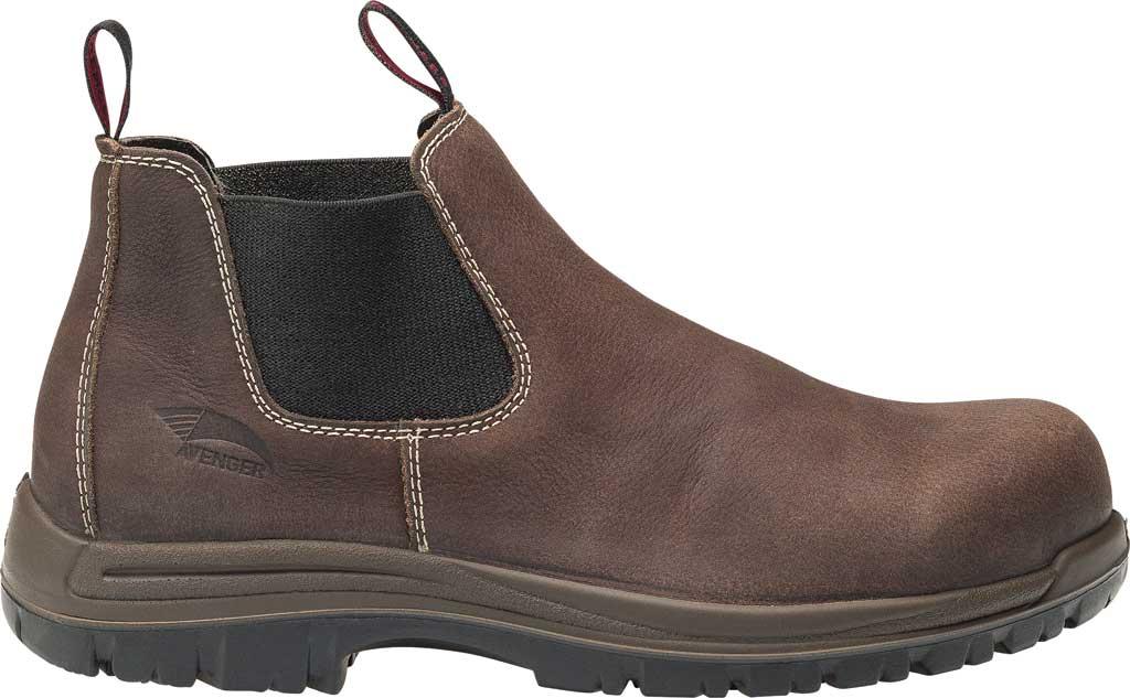 Men's Avenger A7110 Foreman Romeo Pull On Work Boot, Brown Full Grain Leather, large, image 2