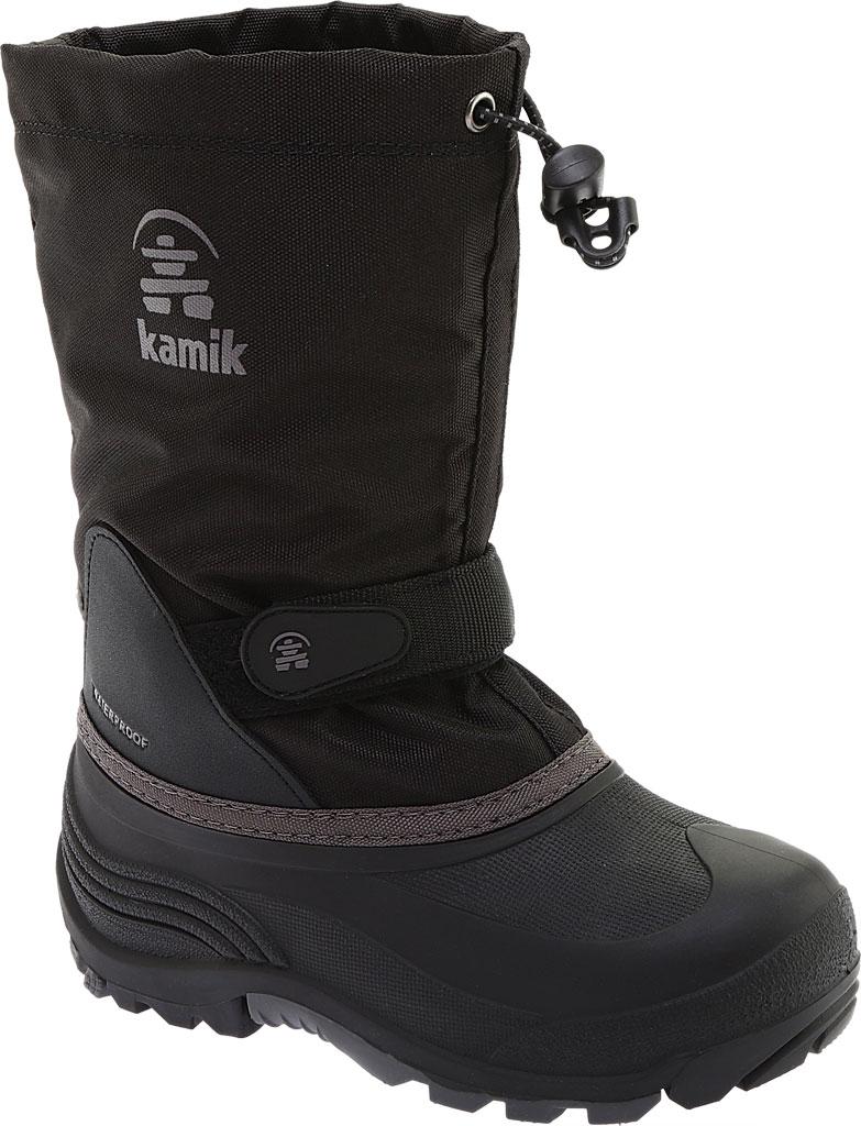 Boys' Kamik Waterbug5 Boot, Black/Charcoal Waterproof 600 Denier Nylon, large, image 1