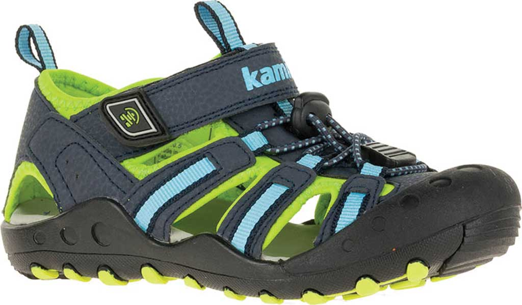 Infant Kamik Crab Closed Toe Sandal, Blue Synthetic Leather, large, image 1