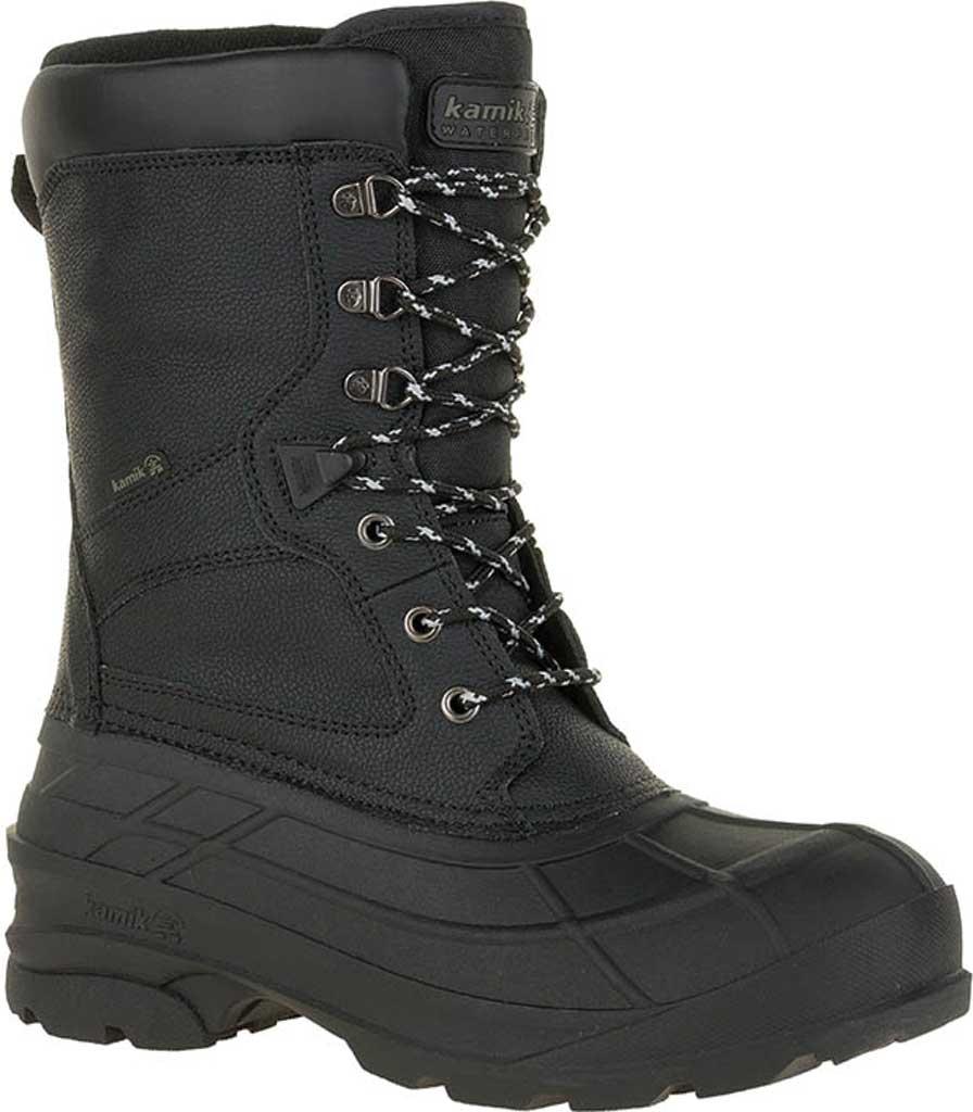 Men's Kamik NationPro Waterproof Boot, Black Leather, large, image 1