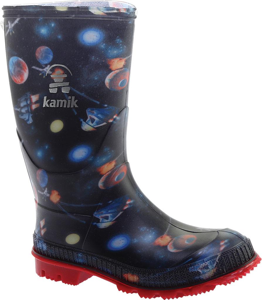 Boys' Kamik Stompspace Rain Boot - Little Kid, Black Rubber, large, image 1