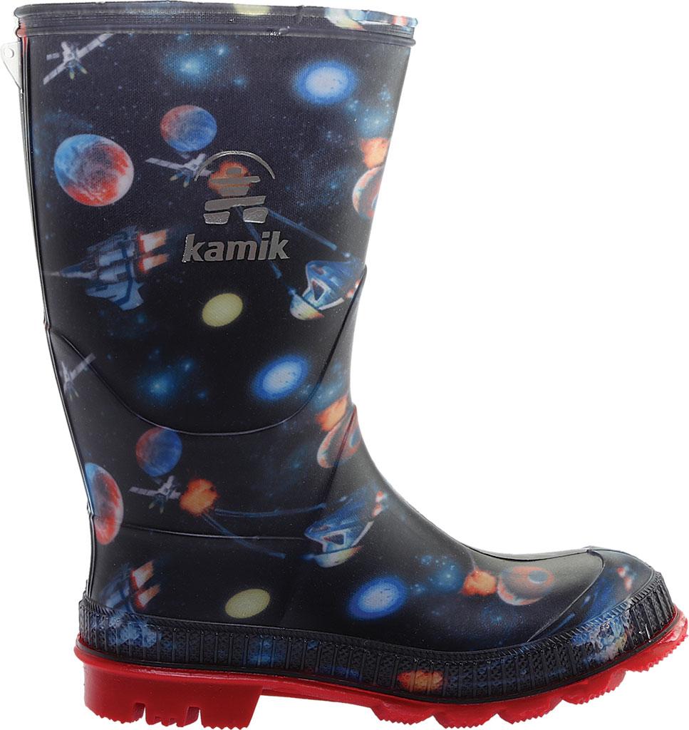 Boys' Kamik Stompspace Rain Boot - Little Kid, Black Rubber, large, image 2
