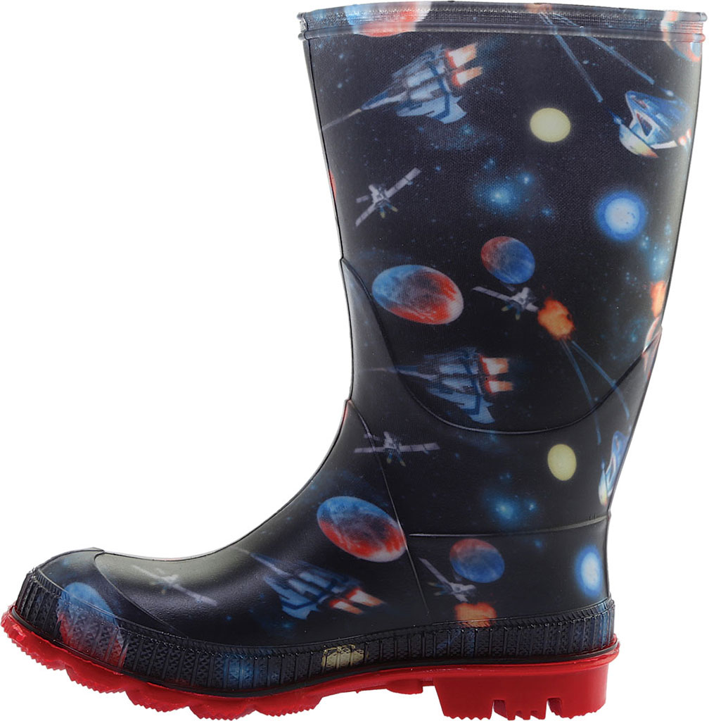 Boys' Kamik Stompspace Rain Boot - Little Kid, Black Rubber, large, image 3