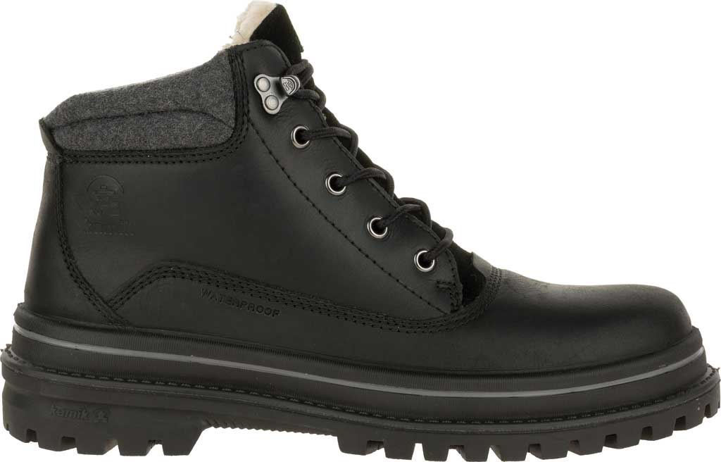 Men's Kamik Tyson Mid Snow Boot, Black Waterproof Leather, large, image 2
