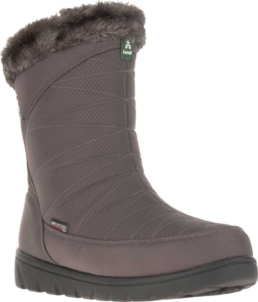 Women's Kamik Hannah Zip Snow Boot, Charcoal Quilted Nylon, large, image 1