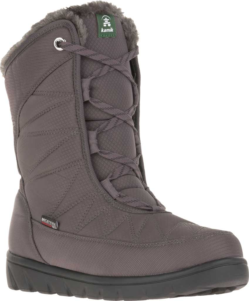 Women's Kamik Hannah Mid Snow Boot, Charcoal Quilted Nylon, large, image 1