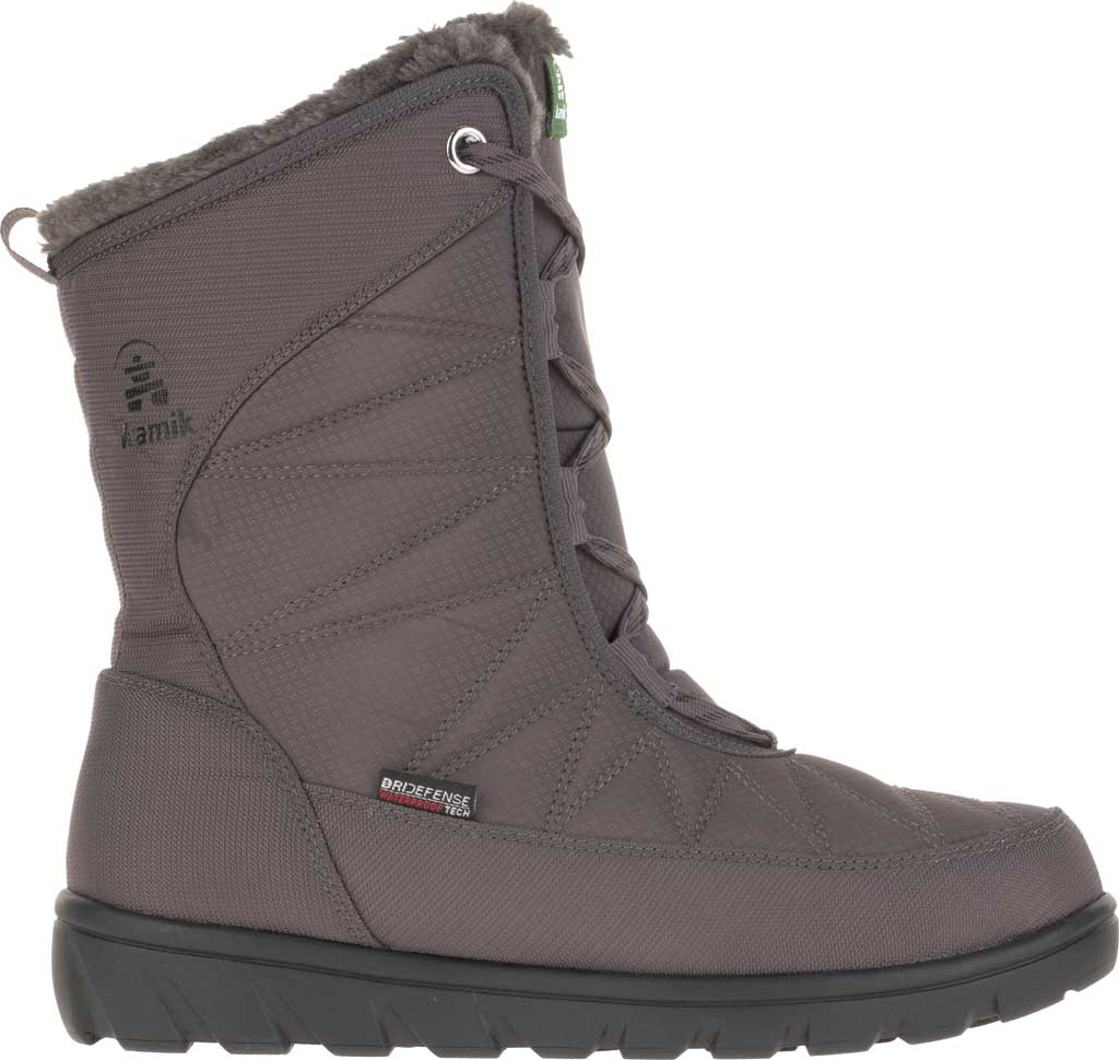 Women's Kamik Hannah Mid Snow Boot, Charcoal Quilted Nylon, large, image 2