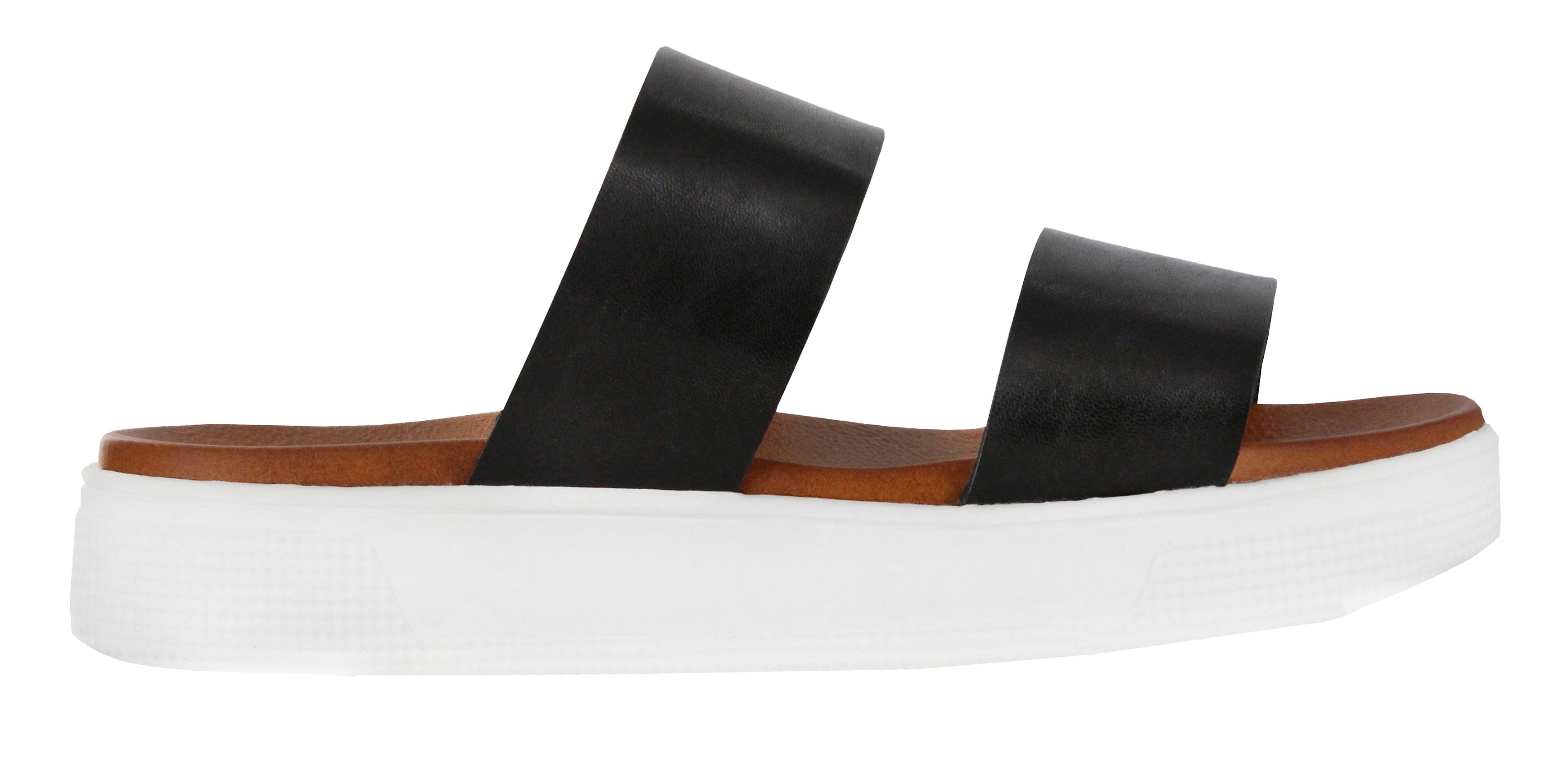 Women's Mia Saige Flatform Slide, Black Vegan Leather, large, image 2