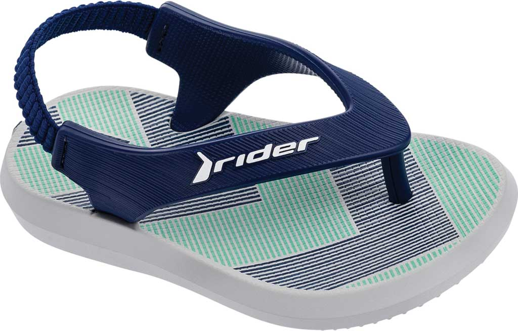 Infant Rider R1 Thong Sandal, Grey/Blue, large, image 1