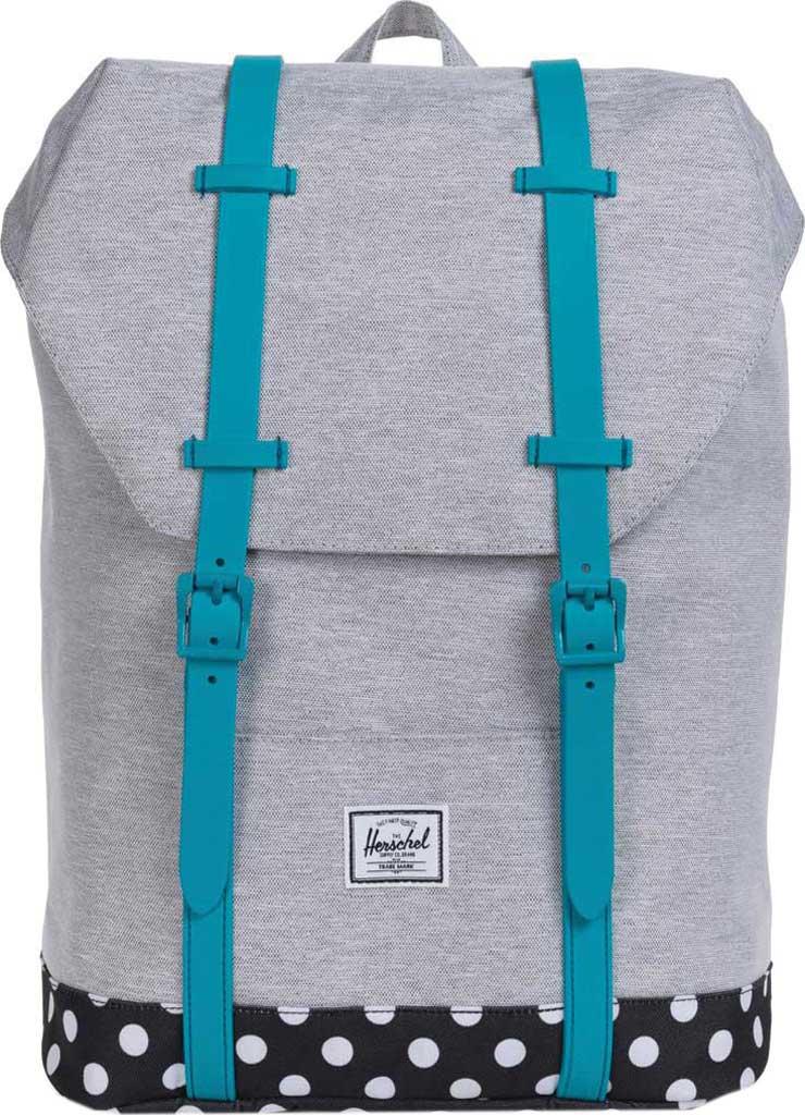Children's Herschel Supply Co. Retreat Youth Backpack, Light Grey Crosshatch/Polka Dot/Tile Blue Rubber, large, image 1