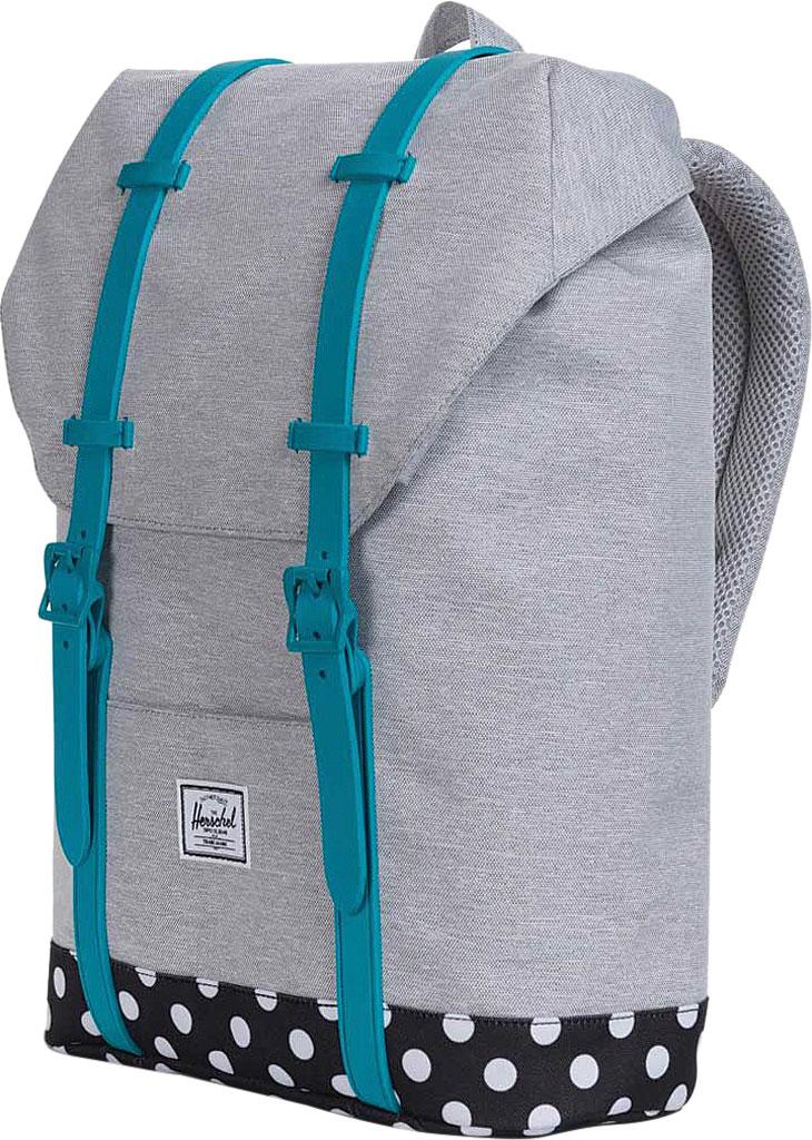 Children's Herschel Supply Co. Retreat Youth Backpack, Light Grey Crosshatch/Polka Dot/Tile Blue Rubber, large, image 3