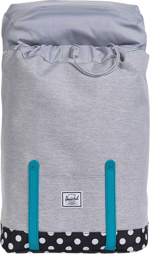 Children's Herschel Supply Co. Retreat Youth Backpack, Light Grey Crosshatch/Polka Dot/Tile Blue Rubber, large, image 4