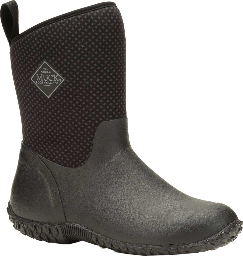 Women's Muck Boots Muckster II Mid Calf Boot, Black/Rose Print, large, image 1