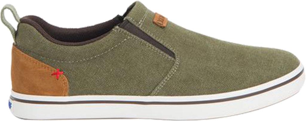 Men's XTRATUF Sharkbyte Canvas Deck Shoe, Green Stone Wash Canvas, large, image 2