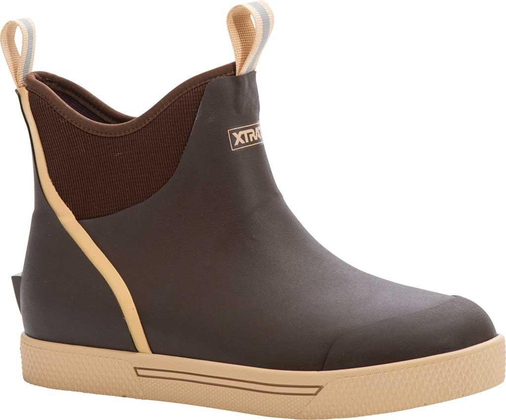 "Men's XTRATUF 6"" Wheelhouse Ankle Deck Boot, Brown Waterproof Rubber, large, image 1"