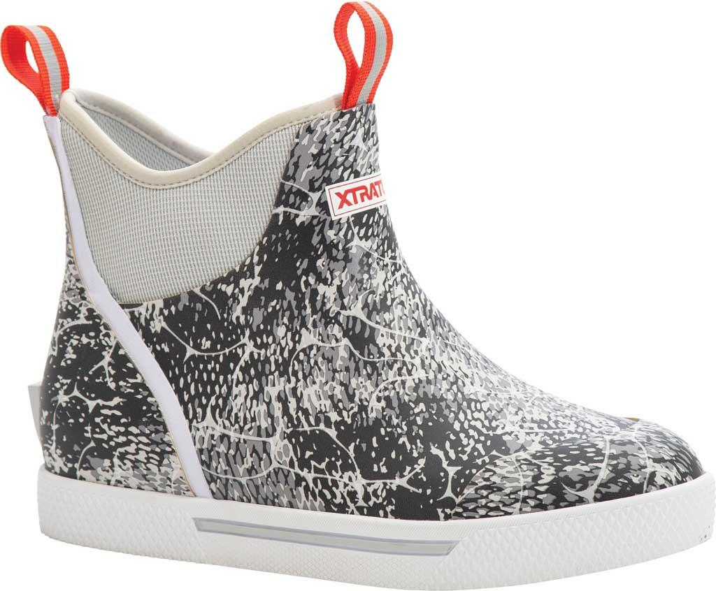 "Men's XTRATUF 6"" Wheelhouse Print Ankle Deck Boot, Grey Coho Waterproof Rubber, large, image 1"