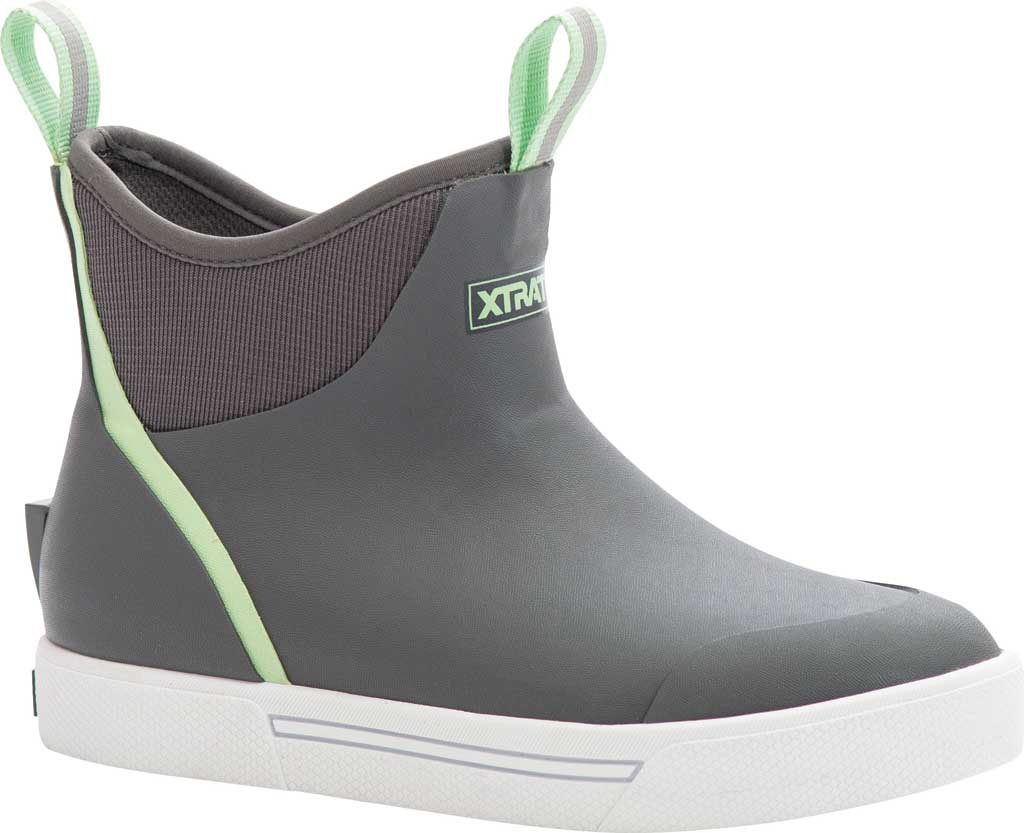 """Women's XTRATUF 6"""" Wheelhouse Ankle Deck Boot, Grey Waterproof Rubber, large, image 1"""