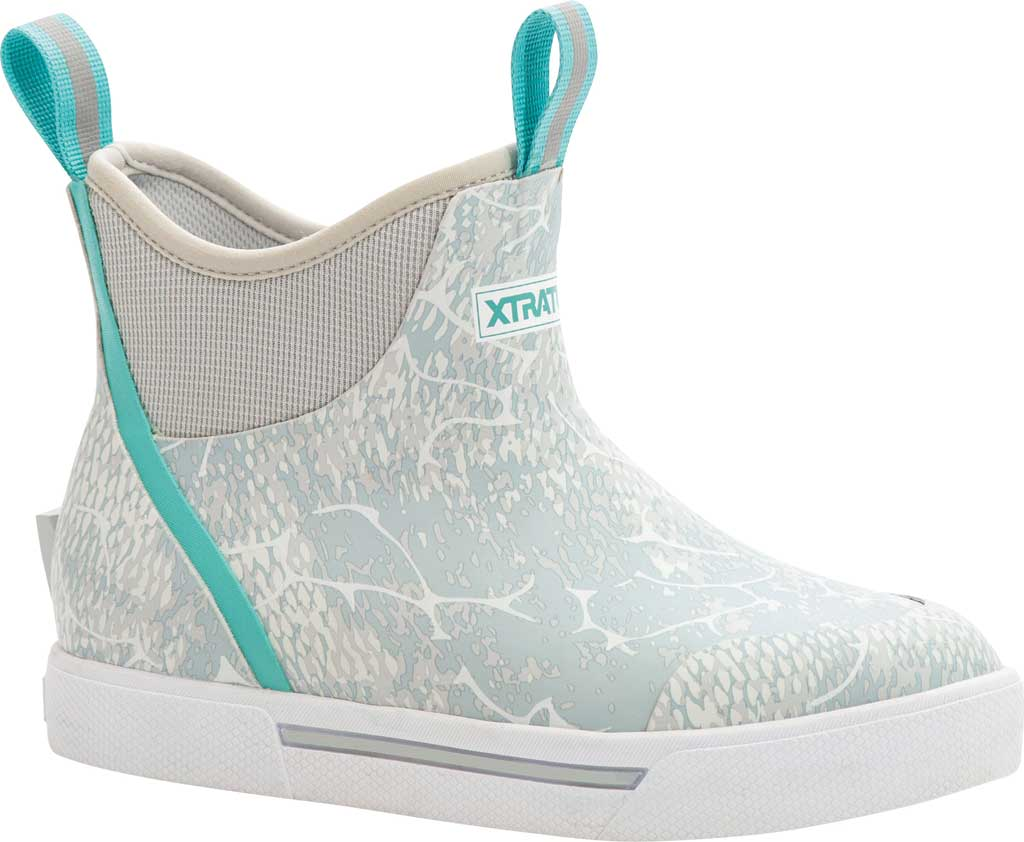 "Women's XTRATUF 6"" Wheelhouse Print Ankle Deck Boot, Blue Coho Waterproof Rubber, large, image 1"