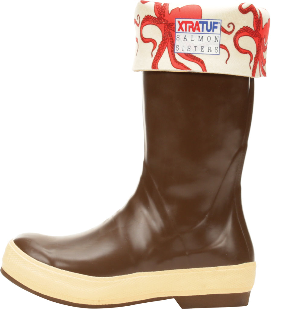 "Women's XTRATUF 15"" Salmon Sisters Legacy Fishing Boot, Chocolate/Octopus Latex/Neoprene, large, image 3"