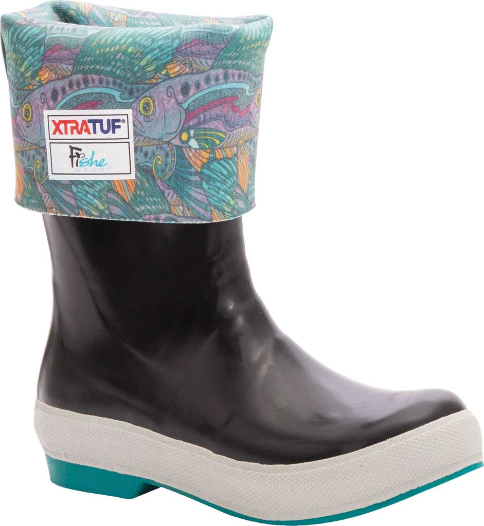 "Women's XTRATUF 15"" Fishe Wear Legacy Boot, Black/Groovy Greyling Latex/Neoprene, large, image 2"