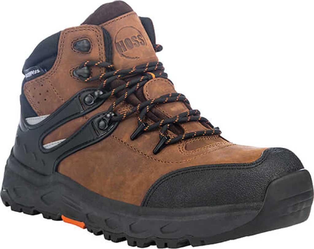 "Men's Hoss Boots Stomp 6"" Waterproof Aluminum Toe Work Boot, Brown Full Grain Crazy Horse Leather, large, image 1"