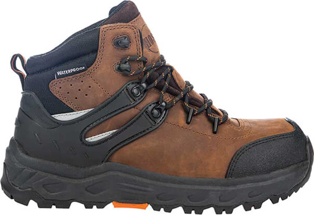 "Men's Hoss Boots Stomp 6"" Waterproof Aluminum Toe Work Boot, Brown Full Grain Crazy Horse Leather, large, image 2"