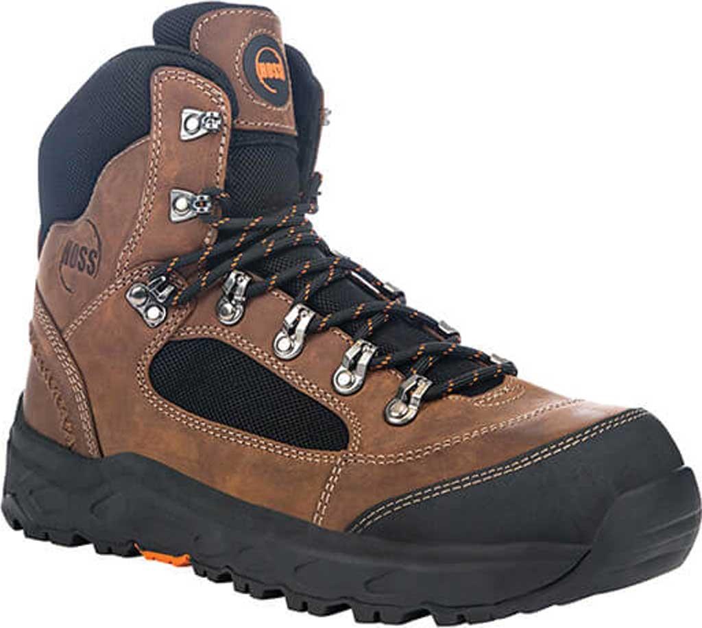 """Men's Hoss Boots Blocker 6"""" Aluminum Toe Work Boot, Brown Full Grain Leather, large, image 1"""