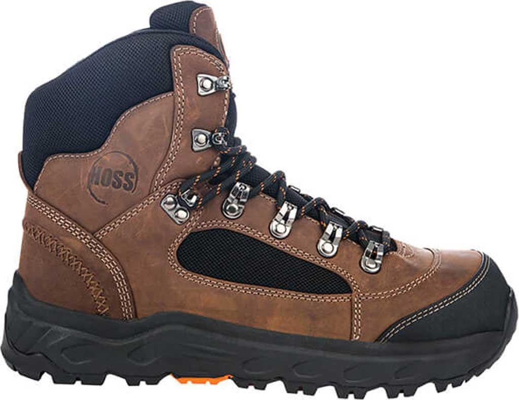 """Men's Hoss Boots Blocker 6"""" Aluminum Toe Work Boot, Brown Full Grain Leather, large, image 2"""