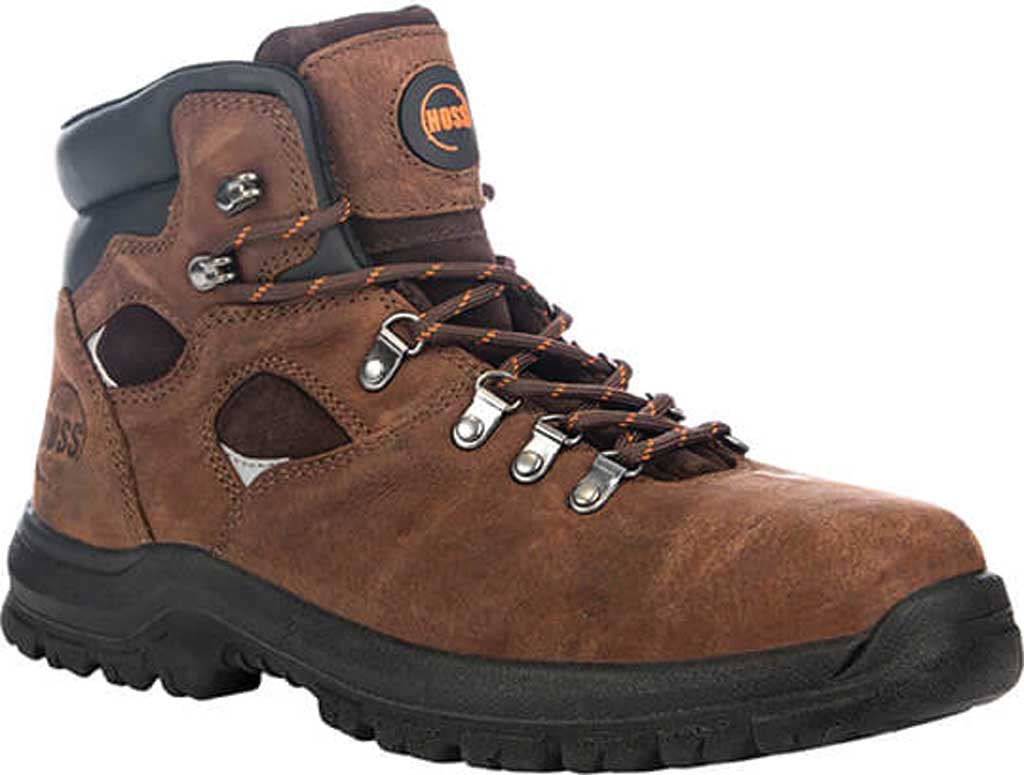 "Men's Hoss Boots Adam 6"" Steel Toe Work Boot, Brown Full Grain Tumbled Success Leather, large, image 1"