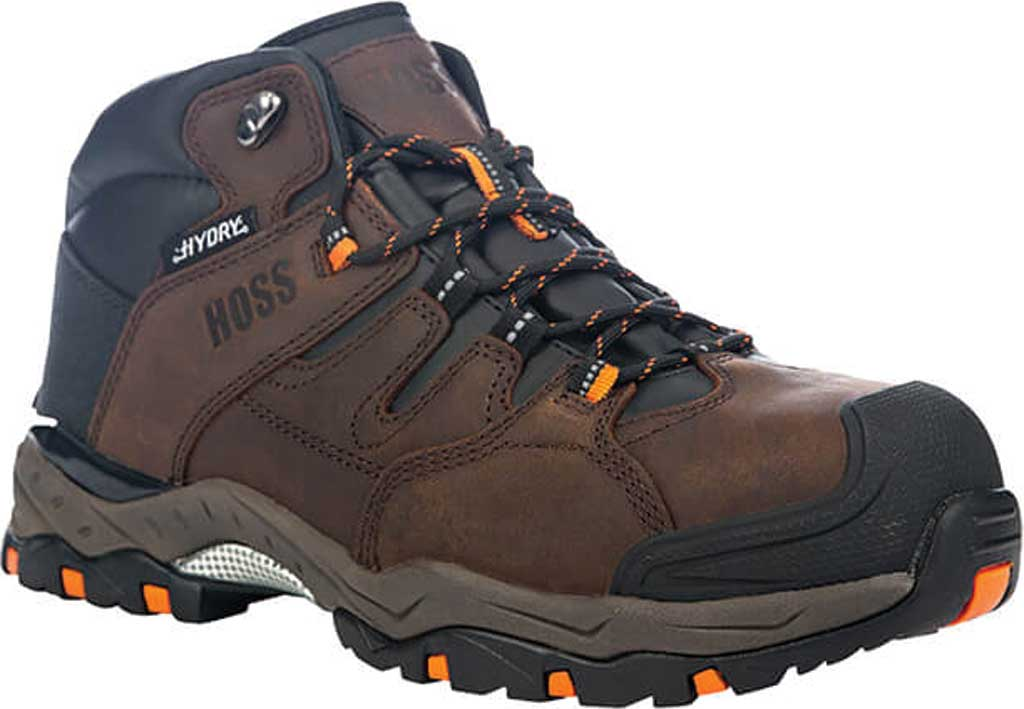 Men's Hoss Boots Tracker Mid Cut Composite Toe Hiking Boot, Brown Full Grain Crazy Horse Leather, large, image 1
