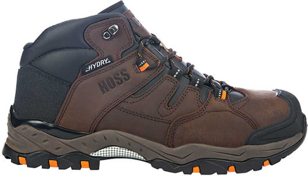 Men's Hoss Boots Tracker Mid Cut Composite Toe Hiking Boot, Brown Full Grain Crazy Horse Leather, large, image 2