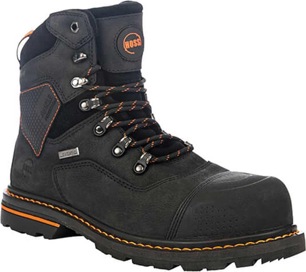 "Men's Hoss Boots Range 6"" Waterproof Composite Toe Boot, Black Full Grain River Bison Leather, large, image 1"